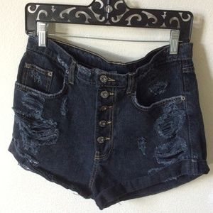 CARMAR Distressed Dark Blue Denim Shorts High Rise